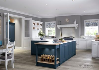 Ashbourne Windsor Blue with White luxury classic designer kitchen