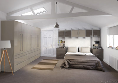 CROWN Furore CoffeeLight_GreyDark LS Silver Fitted Bedroom