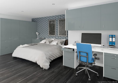 CROWN Furore GreyAqua White Fitted Bedroom