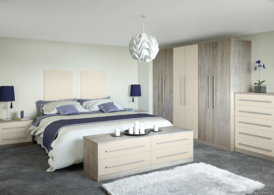 CROWN Locano RawOak_Oyster Fitted Bedroom