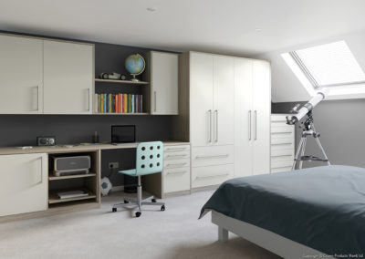 CROWN Locano UrbanOak_White Fitted Bedroom
