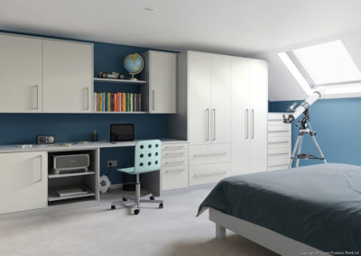 CROWN Locano White_LS Silver Fitted Bedroom