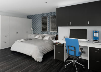 CROWN Polaris LightGrey_Black_White Fitted Bedroom