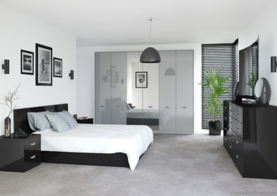 CROWN Rialto Metallic Silver_Black Fitted Bedroom