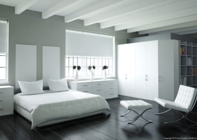 CROWN Rococo White_LS Silver Fitted Bedroom