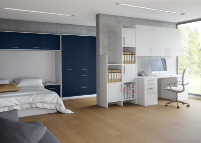 CROWN Zeluso Midnight Blue_LS White Fitted Bedroom