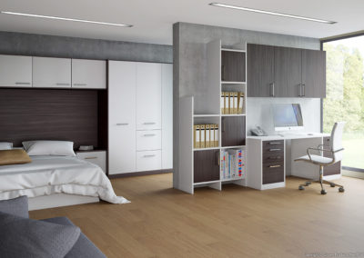 CROWN Zeluso White_BlackOak_LS White Fitted Bedroom
