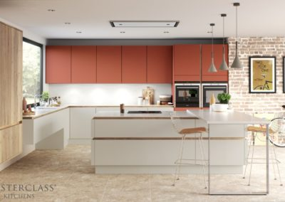 H-line-hampton-mussel-terracotta-sunset-madoc-mayfield-oak luxury designer handleless h line kitchen