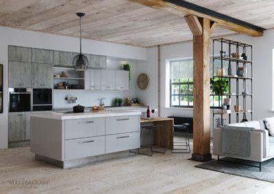Lumina Light Grey with Mirror plinth and Madoc Manhattan copy luxury modern designer kitchen