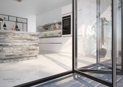 Lumina White with Deco Tundra Stone-large luxury designer handleless h line kitchen