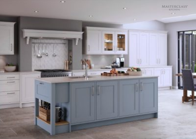 Marlborough Coastal Mist with White copy Luxury Designer Shaker Kitchen