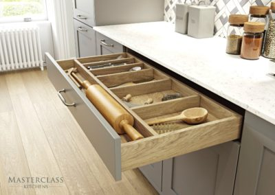 Marlborough-Dust-PortlandOak-Drawer Luxury Designer Shaker Kitchen