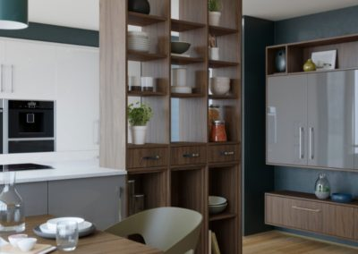 Nevada Dust Grey with Tuscan Walnut Shelving copy luxury modern designer kitchen