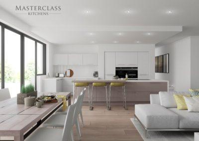 Reno-White-StoneGrey-OpenGrained luxury modern designer kitchen