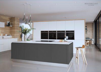 Roma White with Graphite island and Mirror plinth copy luxury modern designer kitchen